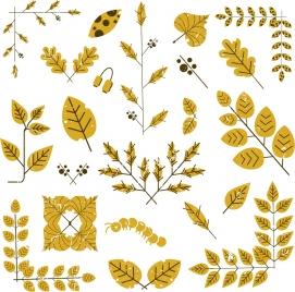 document decorative design elements classical yellow leaf icons