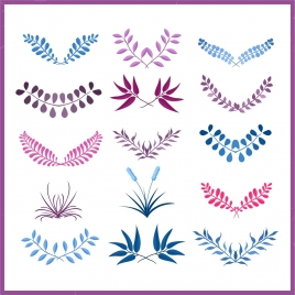 document decorative design elements colored leaves icons