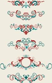 document decorative design elements red blue symmetric curves