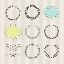 document decorative design elements wreath leaf cloud icons