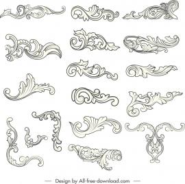 document decorative elements black white elegant curved sketch