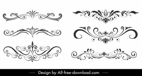 document decorative elements classical symmetrical curves sketch