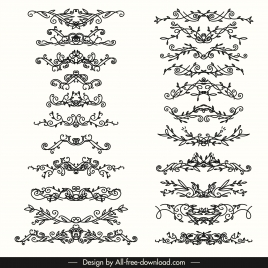 document decorative elements collection classic symmetric seamless shapes