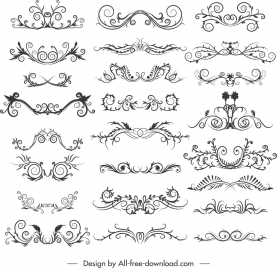 document decorative elements collection elegant symmetric curves decor