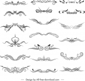 document decorative elements elegant symmetrical curves sketch