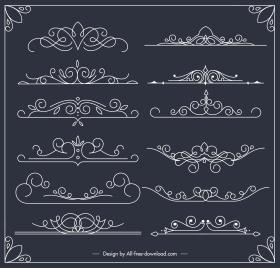 document decorative elements european symmetric handdrawn curves