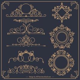 document decorative elements formal european design symmetric shapes