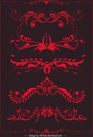 document decorative elements red symmetrical curves sketch