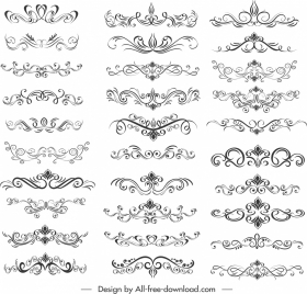 document decorative templates collection elegant shapes symmetric curves