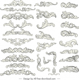 document design elements classical symmetrical curved sketch