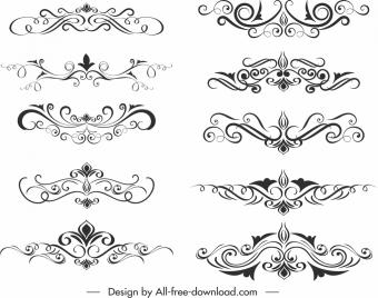 document design elements templates elegant classical symmetric swirl