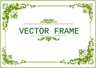 document frame template classical green curves design