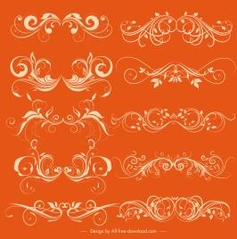 documents decorative elements collection elegant symmetrical swirled lines