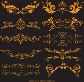 documents decorative elements elegant golden symmetrical curves sketch