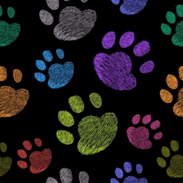 dog footprints background colorful repeating outline
