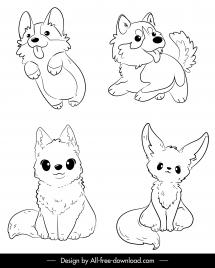 dog icons cute cartoon sketch black white handdrawn
