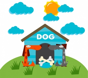 dog life background colored cartoon design home icon