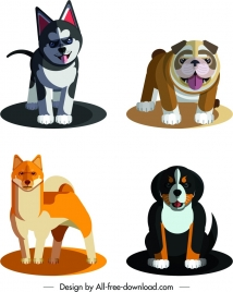dog species icons cute colored cartoon sketch