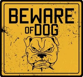 dog warning sign template yellow grunge decor