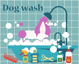 dog wash products design elements colorful cartoon style