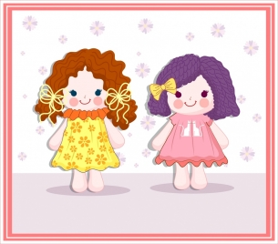 dolls background cute girl icon colorful flat design