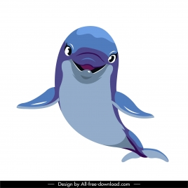 dolphin icon cute sketch cartoon character colored design
