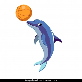 dolphin icon playing ball sketch dynamic design