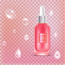 domestic advertising banner shiny bottle icon pink decor