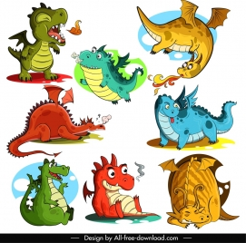 dragon icons cute cartoon characters sketch