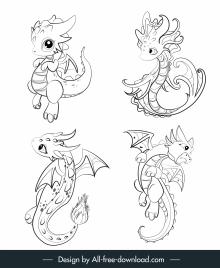dragon icons cute cartoon sketch black white handdrawn