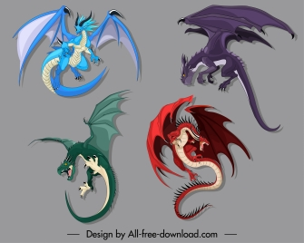 dragon icons western tradition design cartoon characters