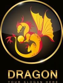dragon medal template colored shiny sparkling design