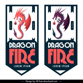 dragon tag template artistic vertical design
