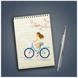 drawing paper and pen realistic vector illustration