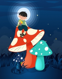 dream background boy giant mushroom moonlight icons decor