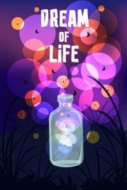 dream background firefly bottle icons sparkling bokeh decor