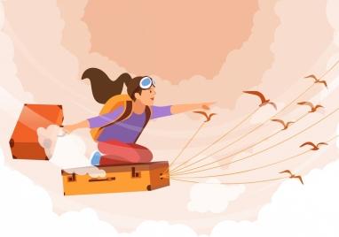 dream background flying girl suitcases birds cartoon design