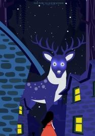 dreaming background big reindeer girl icon violet design