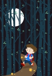 dreaming background boy walking forest moonlight decoration