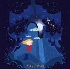 dreaming background dark blue design kid forest icons