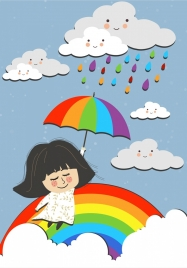 dreaming background flying girl stylized clouds colorful rainbow