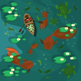 dreaming background human rowing giant fishes decor