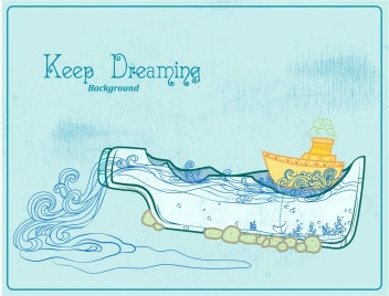 dreaming background ship overflowing bottle retro handdrawn decor