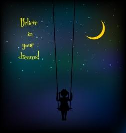 dreaming background swinging girl dark sky decoration