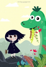 dreaming drawing little girl dinosaur icons colored cartoon