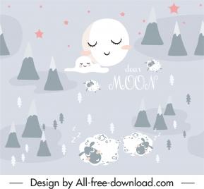 dreaming pattern stylized moon sleeping sheeps sketch