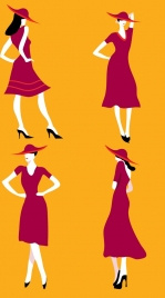 dress fashion collection model icons red design