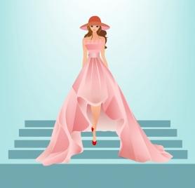 dress fashion design colored cartoon sketch