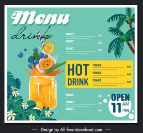 drink menu template colorful tropical design dynamic decor
