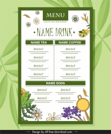drink menu template floral herbs sketch flat handdrawn